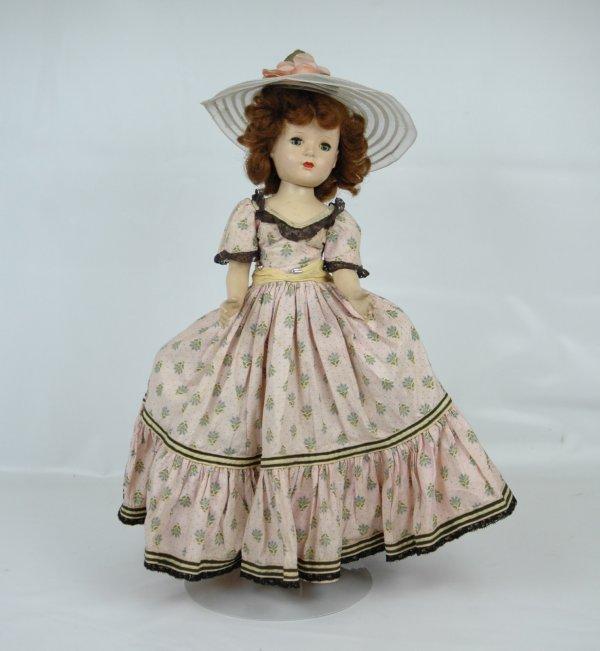 """9: Mme Alexander 18"""" hard plastic walker doll, Godey or"""