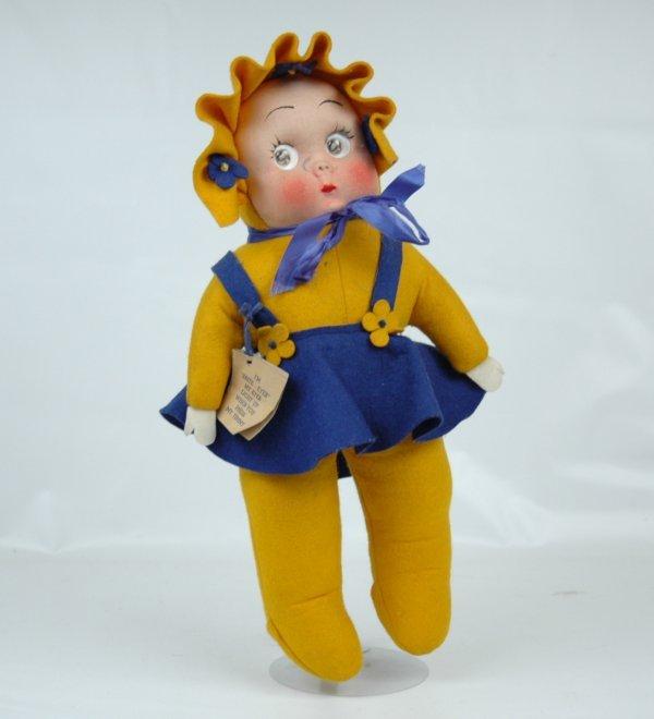 11: 1940's Brite-Eyes doll, googley eyes, cloth doll wi