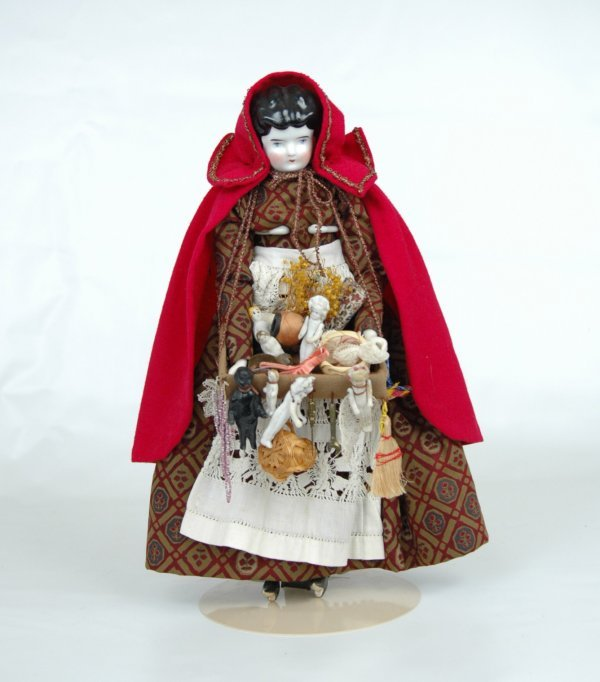 """12: China head peddler doll, 13"""", china head, hands and"""