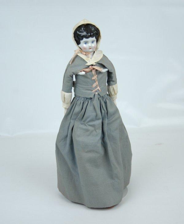 13: China head doll, china head and hands, cloth body,
