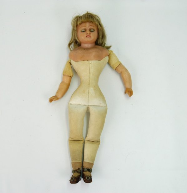 15: Victorian doll, wax shoulder head and arms, kid bod