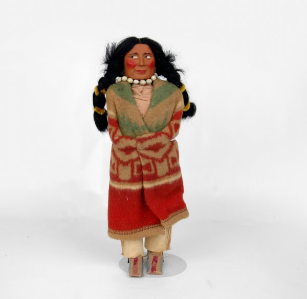"""22: Skookum doll, man, 15"""", some soiling to clothing, s"""