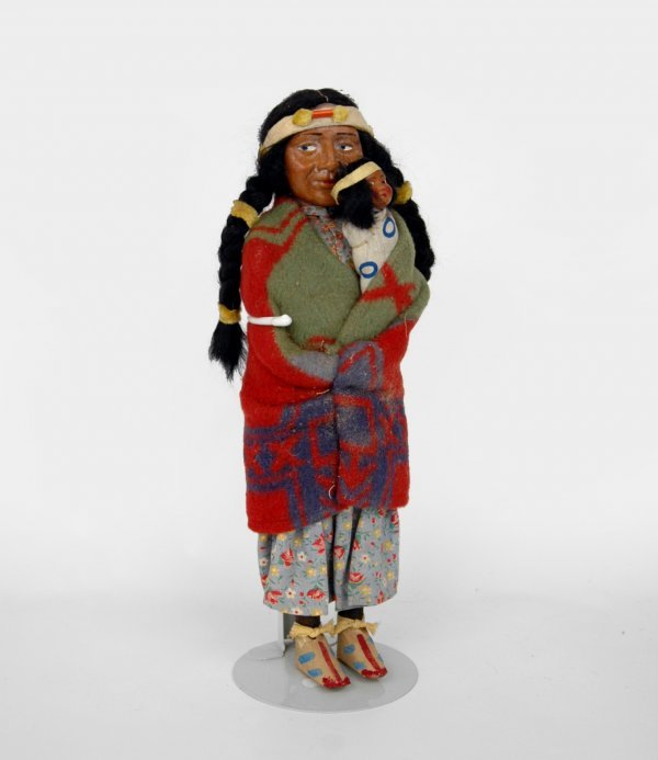 """23: Skookum doll, woman with papoose, 13 1/2"""", some soi"""