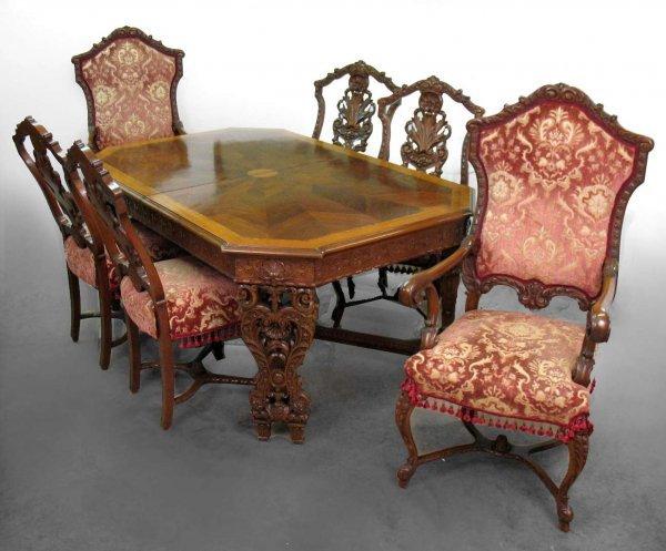 322: Italian Rococo seven piece satinwood inlaid dining