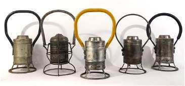Five Adlake electric railroad lanterns
