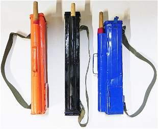 Three railroad flagman signal flare kits