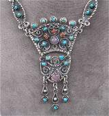 156 Mexican handmade sterling silver necklace with ame