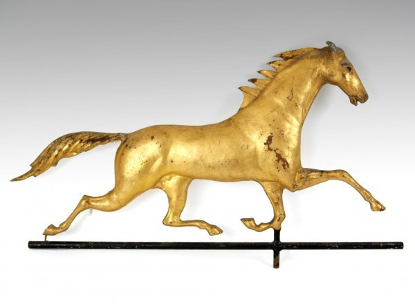 284: Running horse weathervane with directionals, gilt