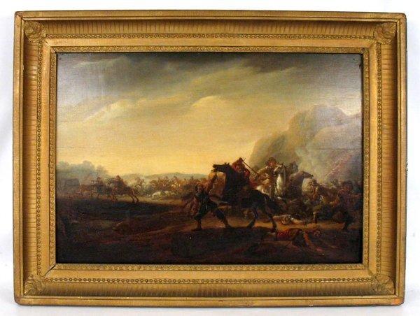 319: Attributed to Jan Van Huchtenberg oil on wood pane