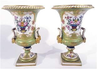 Pair of Rockingham Works porcelain urns