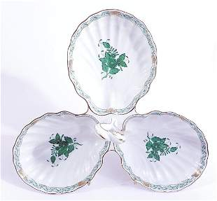 """Herend bone china divided dish """"Green Bouquet"""""""