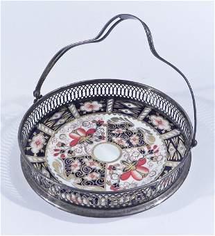 Royal Crown Derby porcelain and sterling basket