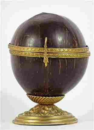 Bronze mounted coconut shell