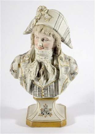 Continental porcelain hand painted bust