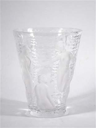 Lalique Ondines crystal vase