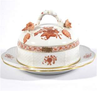 Herend porcelain Chinese Bouquet Rust covered butter