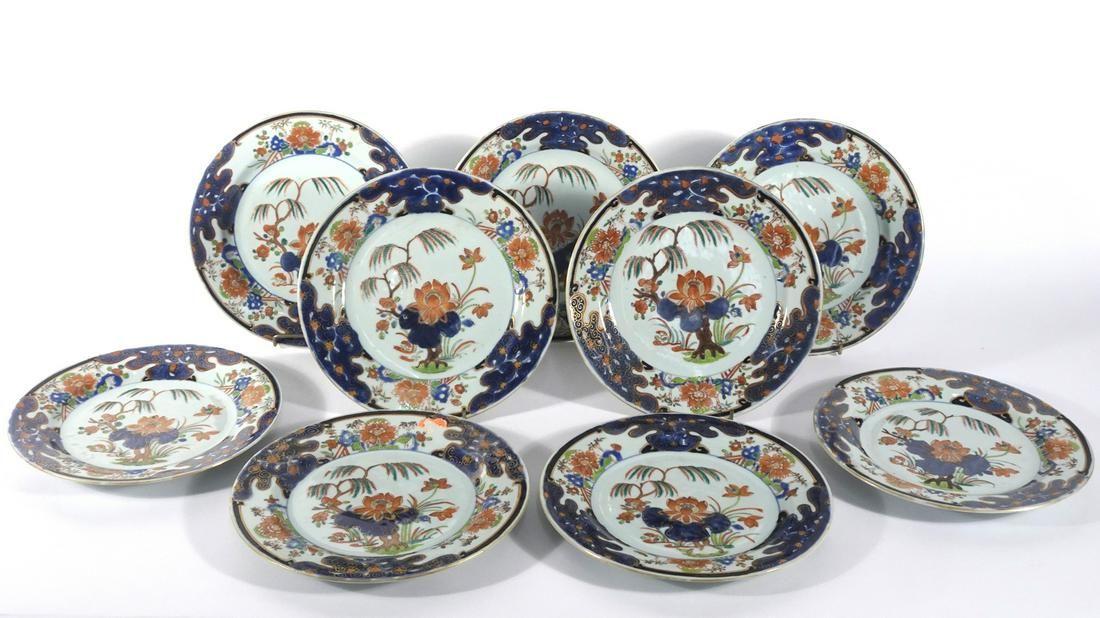 Nine Chinese Export Imari pattern plates