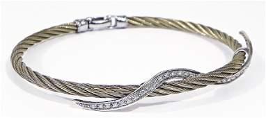 Charriol 750 and steel bangle with diamonds
