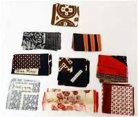 Group of 9 designer silk scarves