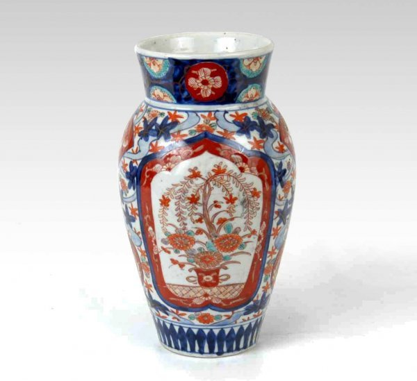 3: Japanese Imari vase, two reserves with flowering tre