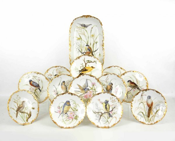 5: Thirteen piece hand painted Limoges game service, in
