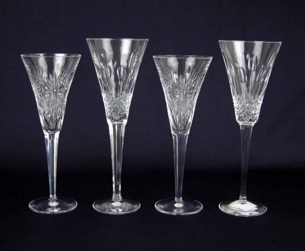 7: Two pair of Waterford crystal champagne toasting flu