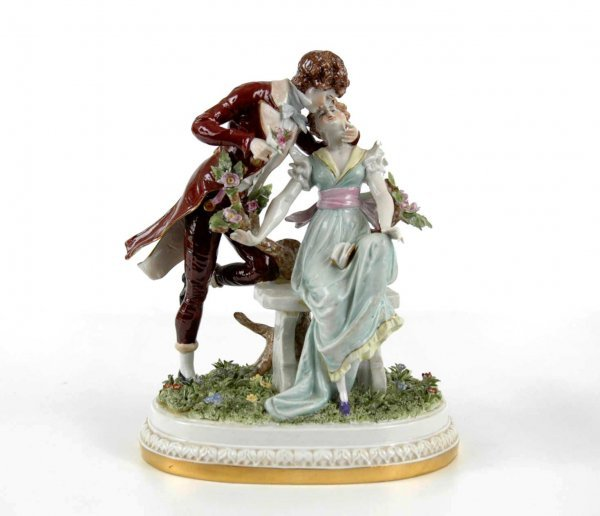 14: Scheibe-Alsbach German porcelain double figurine, c