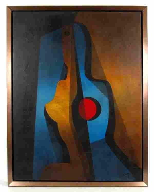 243: N. (Neal) Doty mixed medium on canvas, cubist figu