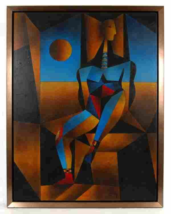 244: N. (Neal) Doty mixed medium on canvas, cubist figu