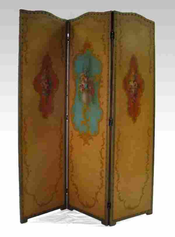 299: Hand painted leather three panel screen, brass tac
