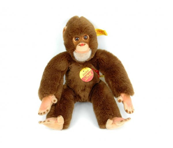 "612: Steiff monkey ""Jocko"", 11"", with paper tag, gold e"