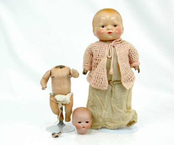 "622: Two dolls, including bisque head doll, 8"", marked"