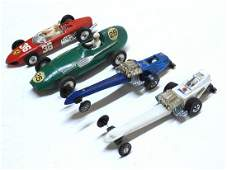 Four 1960's-1970's die cast and plastic race cars by