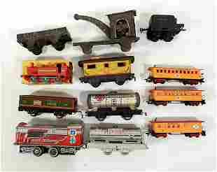 Various metal and plastic trains