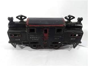 1915 Ives O gauge #3217 black painted with red trim die