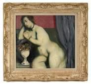 324: Leon S. Kelley (Kelly) oil on canvas, nude, signed