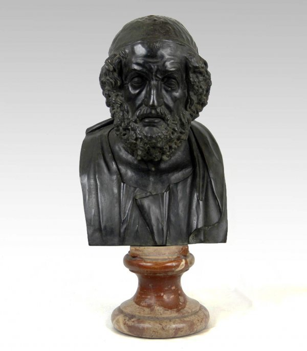 417: Bronze bust of Socrates on round marble base, late