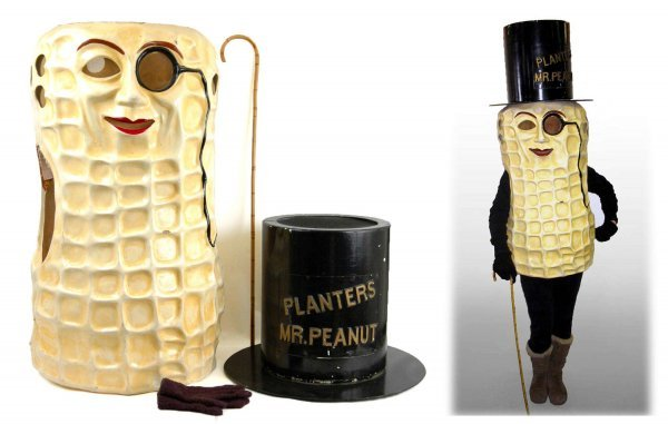 428: Mr. Peanut costume with hat cane and gloves, body