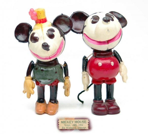 88: Celluloid Mickey Mouse and Minnie Mouse, paper labe