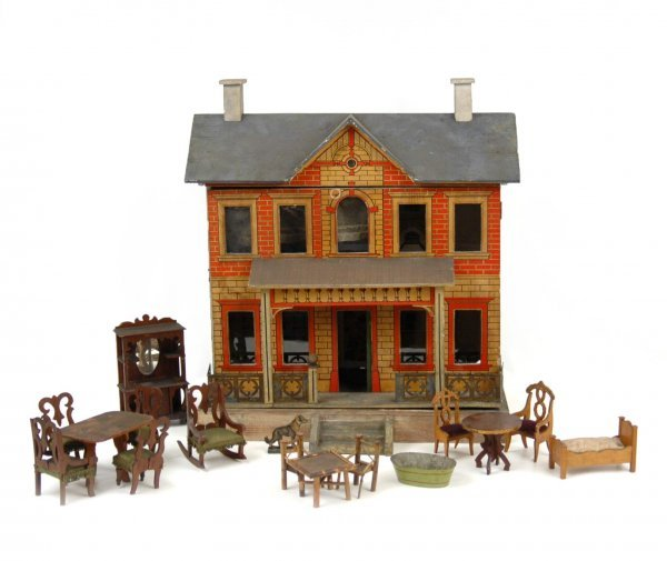 142: German doll house with furniture, C. 1910, wood wi