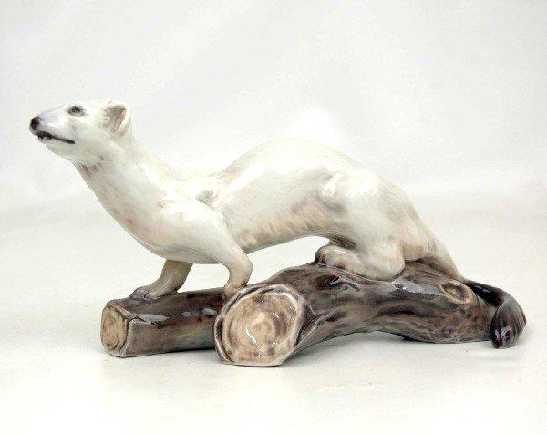 """3: Dahl Jensen Copenhagen figurine """"Ermine on Log"""", 112"""
