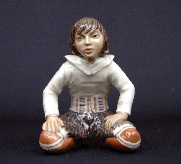 "15: Dahl Jensen figurine ""Greenland Inuit Boy Kneeling"""