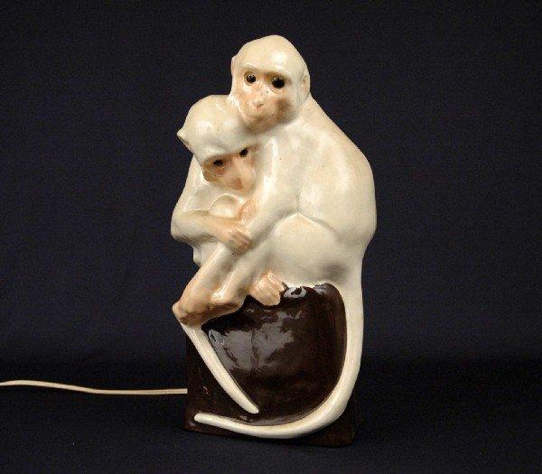 388: Wiener Workstatte ceramic double monkey figural la