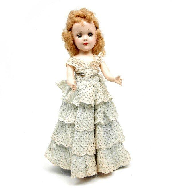 602: Hard plastic Mary Hoyer doll, blonde hair, green s