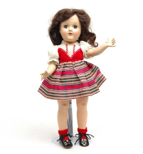 "604: Ideal Toni doll, hard plastic, 15"", marked on back"