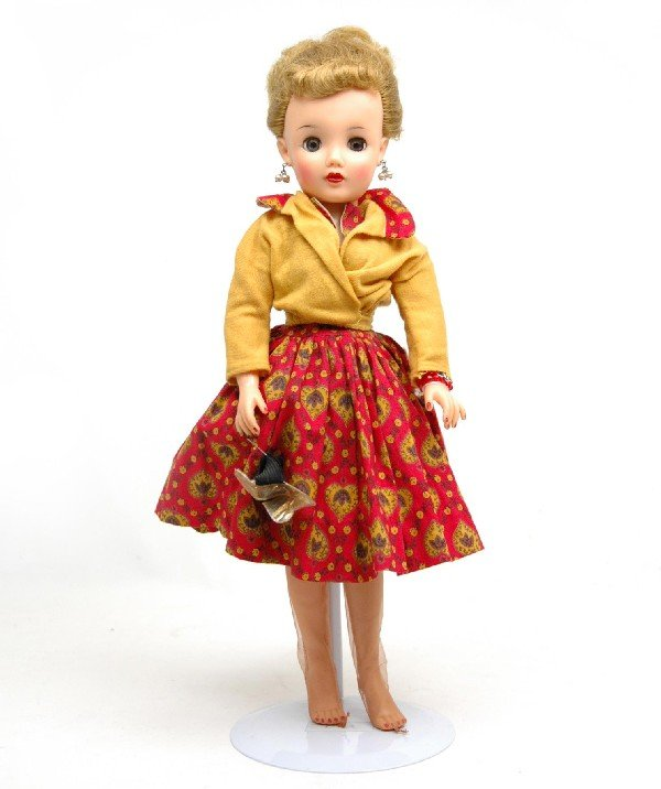 """605: Ideal hard plastic doll, all original outfit, 18"""","""