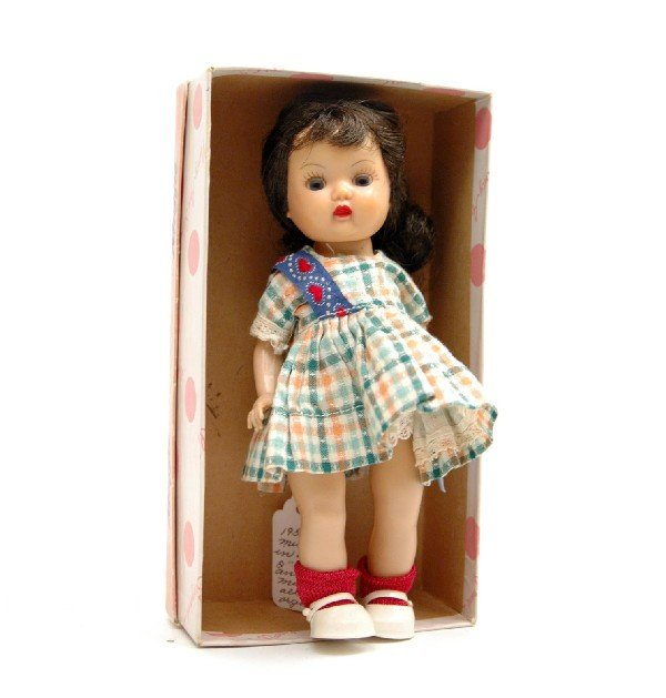"""608: Nancy Ann Muffie doll, 8"""", dark brown hair, brown"""