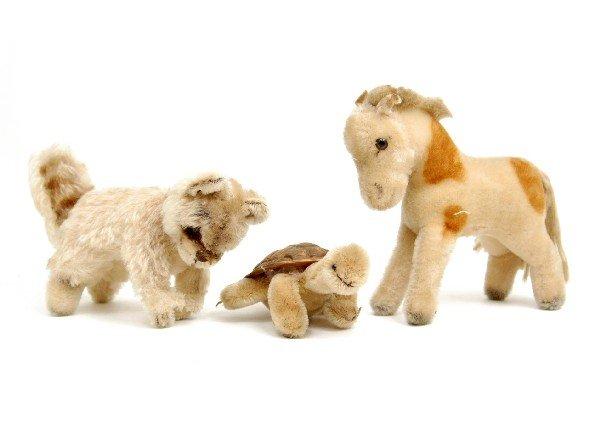"609: Three Stieff animals including 6"" high horse, 6"" h"