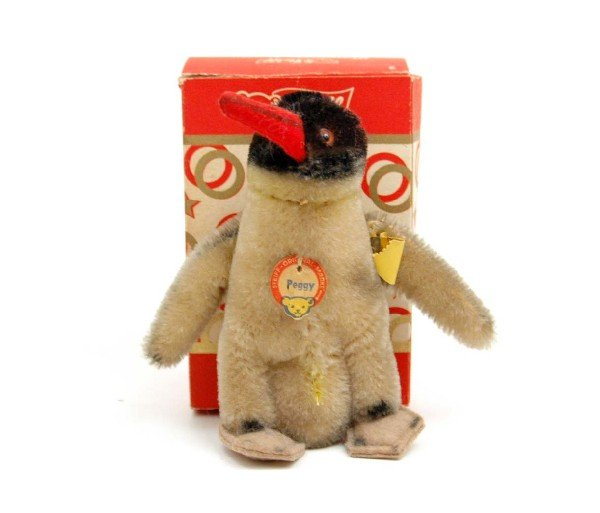 610: Steiff Peggy penguin with box, with silver button