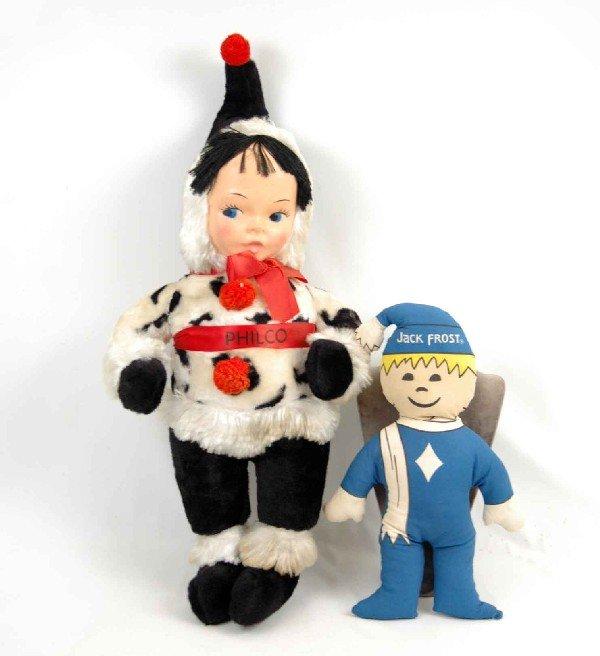 "614: Philco plush Eskimo doll, 33"" high, with plastic m"
